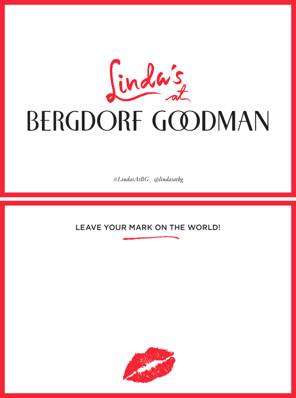 """Linda's at Bergdorf Goodman Gift with Beauty Purchase Notecard. 6 x 4"""" Blind Letterpress. Design."""