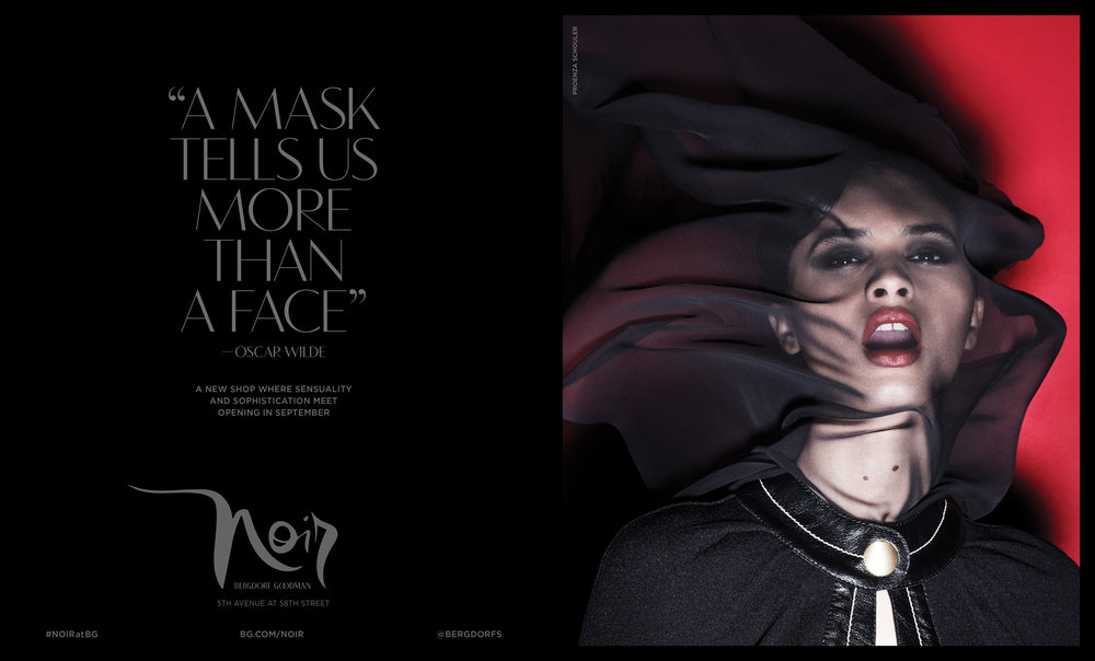 """Noir campaign advertisement for  Vogue 's September Issue. 18 x 10.875"""". Design and implementation of all-new typefaces into the BG identity. Creative Director Katia Kuethe, Photographer Paola Kudacki, Fashion Editor Anne Christensen."""