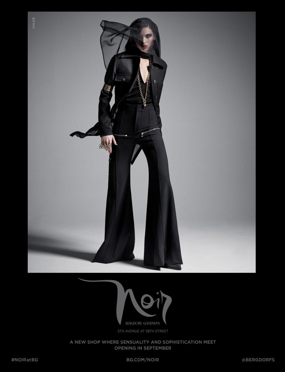 "Noir campaign advertisement for  Cabana 's Fall/Winter Issue. 9.2 x 12"". Design. Creative Director Katia Kuethe, Photographer Paola Kudacki, Fashion Editor Anne Christensen."