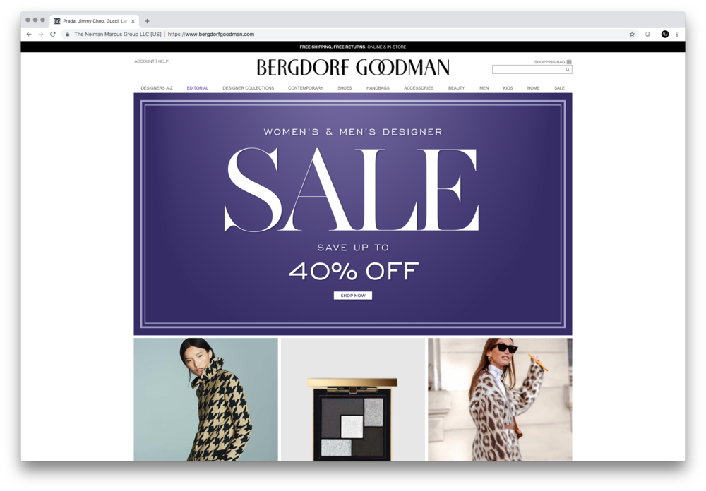 Sale Rebrand — Representation on Home Page. Design and implementation of all-new typefaces into the BG identity.
