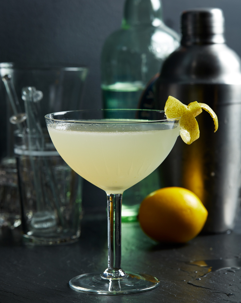 winter cocktail with lemon twist