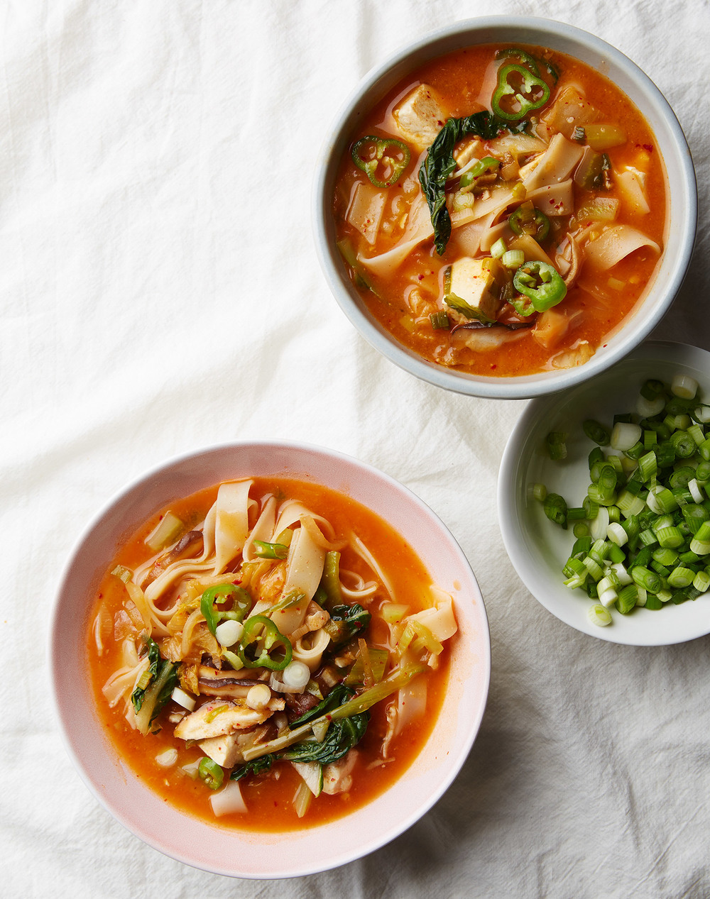 kimchi stew with tofu and noodles