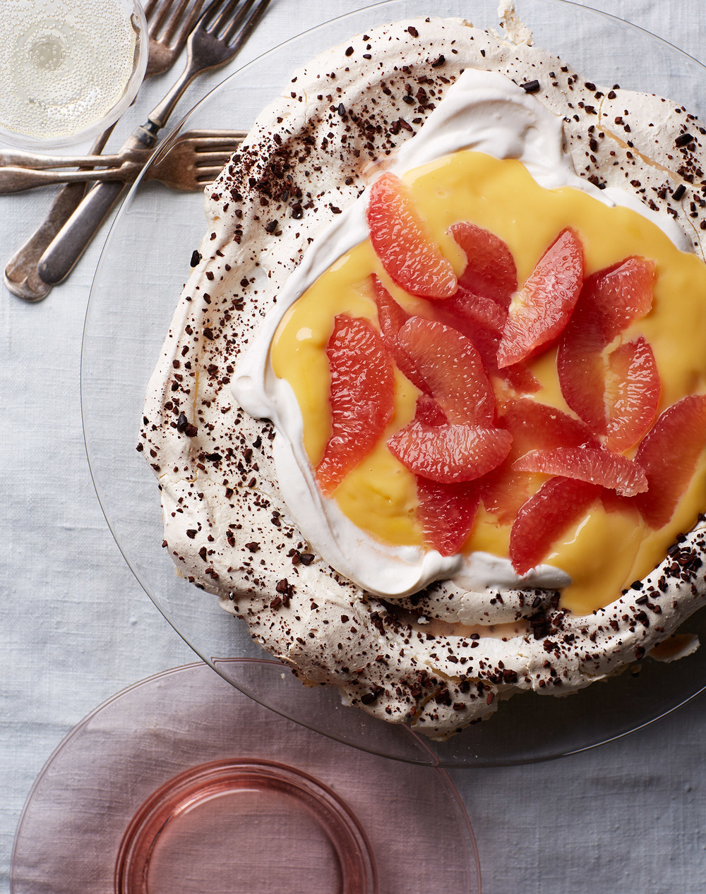 pavlova with grapefruit curd and cocoa nibs