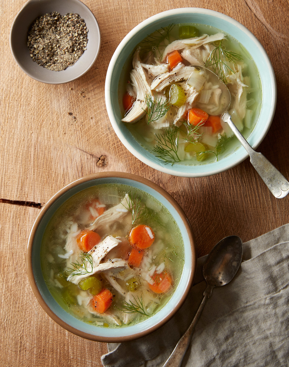 from scratch chicken soup with rice and vegetables