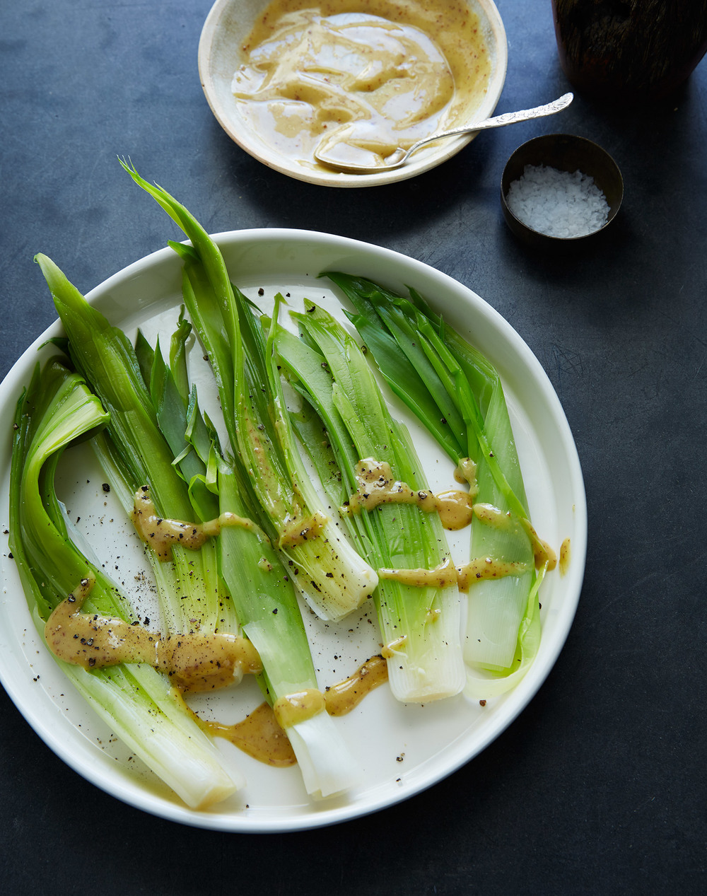 leeks poached in spring with vinaigrette