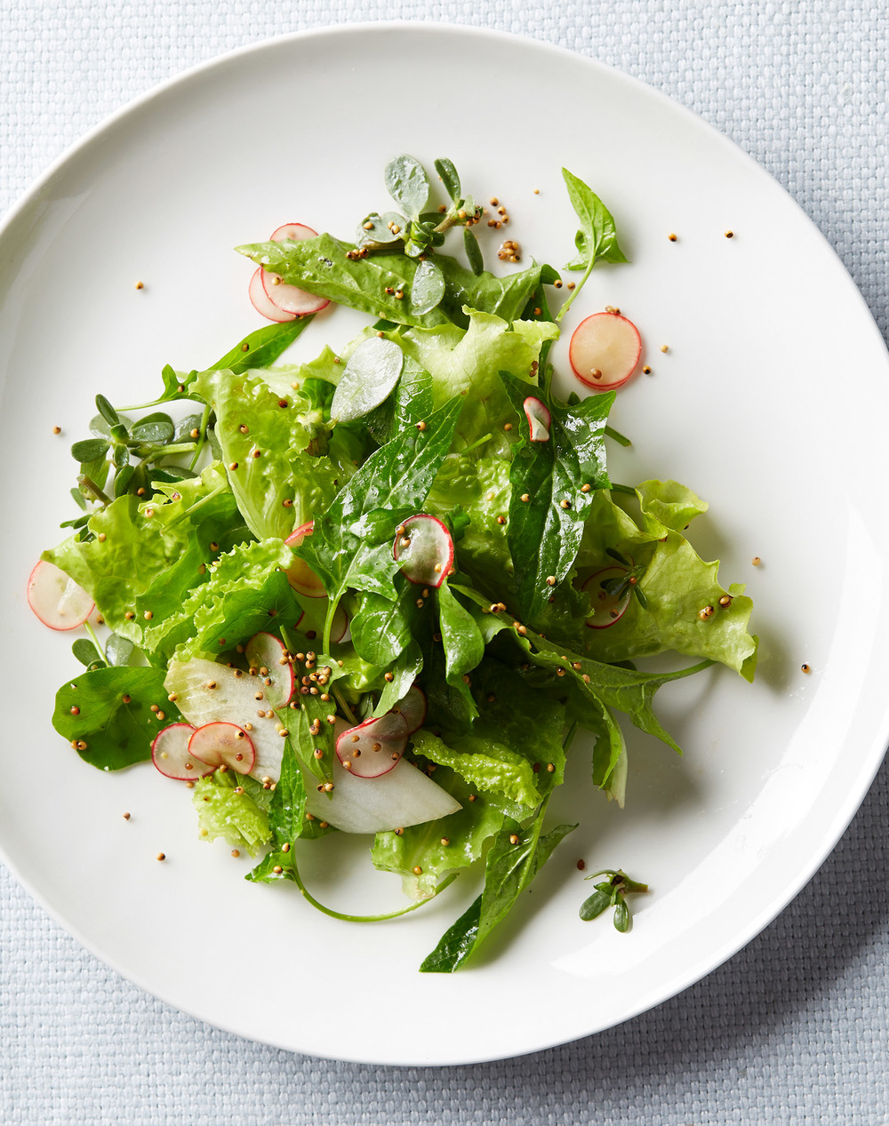 spring greens with radish and toasted millet
