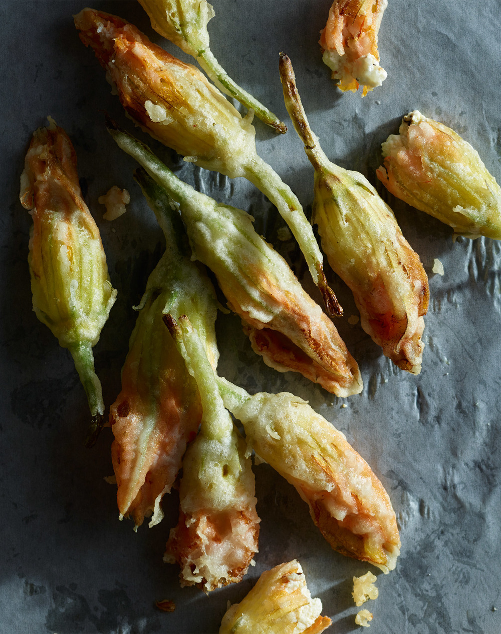 gluten free fried squash blossoms