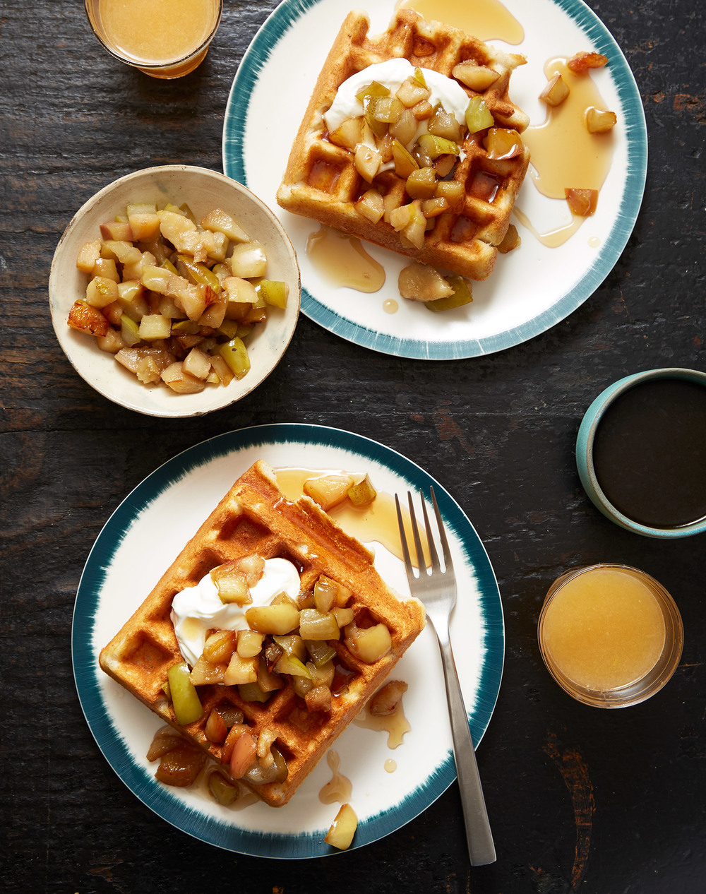 gluten free waffles with quince, apple, and crème fraîche