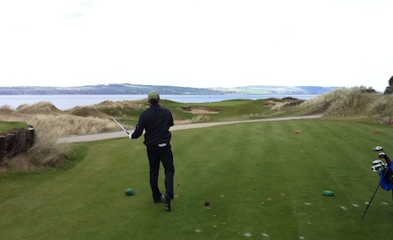Hole #11, a par 3, yet another green using the Moray Firth to play tricks on the eyes