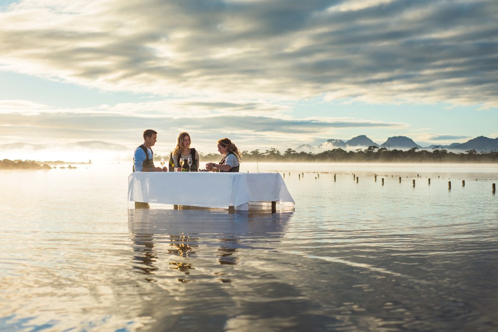 Hors d'oeuvres of fresh oysters at Saffire Freycinet in Tasmania, Australia