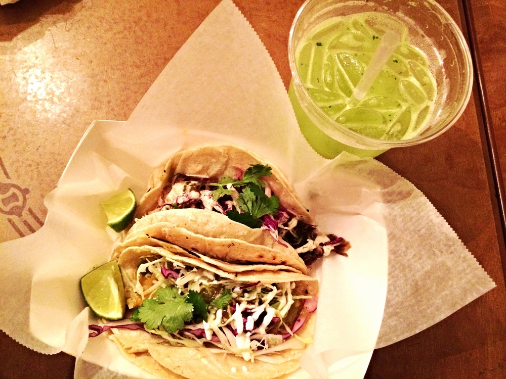 Pineapple Cilantro Water, Quinoa Sweet Potato Taco, Pulled Pork Taco