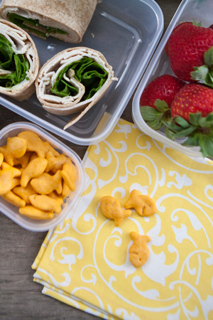 Eco-friendly lunch with reusable napkins and containers