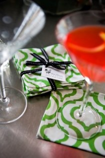 Green and white cotton cocktail napkins