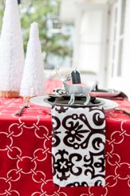 black and white and red christmas cotton linens