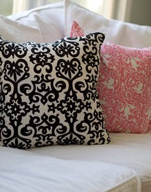 black and white holiday cotton pillows