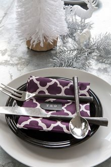 purple table linens christmas place cards