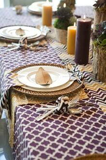 purple cotton table linens