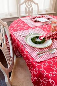 red Christmas cotton table linens