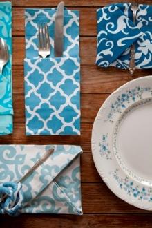 Blue cotton napkins