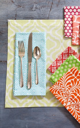 Casual cotton cloth napkins and placemats