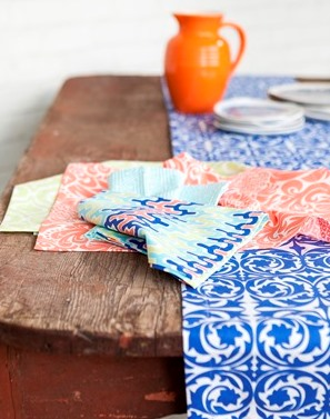 Colorful Blue Table Linens