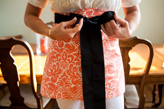 Coral Persimmon flirty cocktail apron