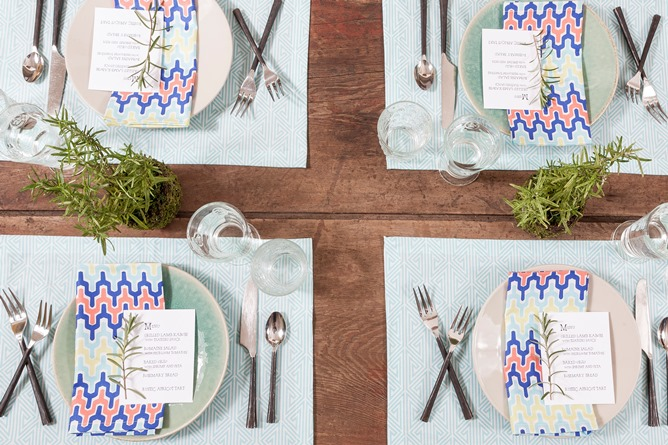 Greek Key Aqua placemats