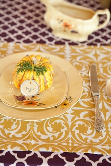 Gold and purple cotton table linens