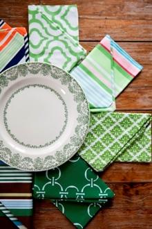 Green cotton cloth napkins