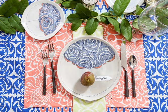 Persimmons cotton place setting