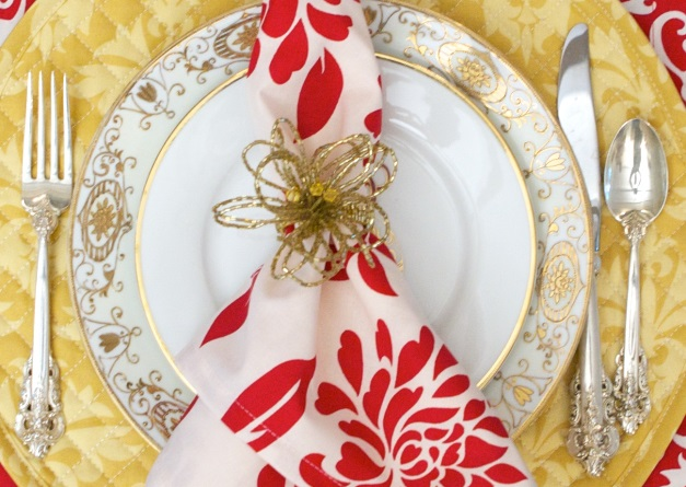 Red Gold festive table linens