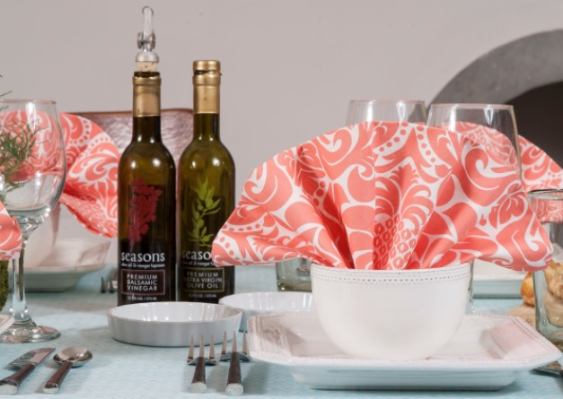Soft washable cotton dinner napkins coral