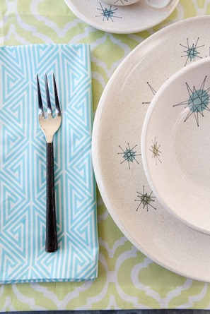 Vintage and modern table setting