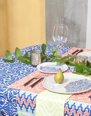 blue Cotton tablecloth