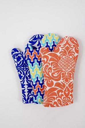 modern pink blue oven mitts