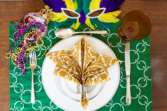 Mardi Gras table linens cotton green gold purple