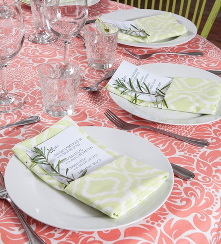coral table cloth cotton