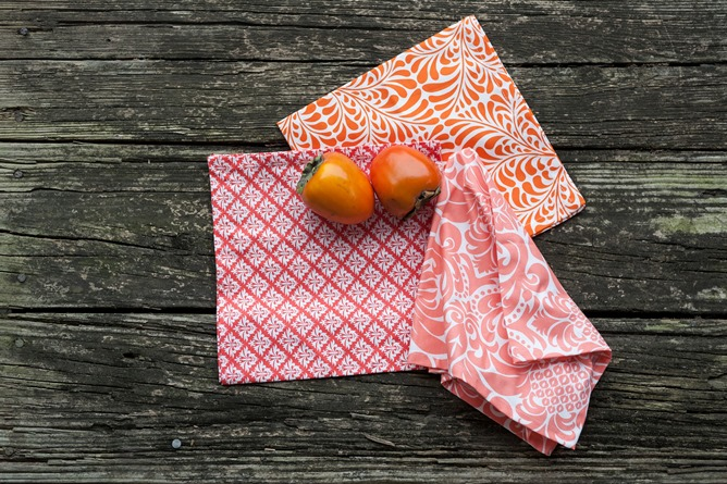 fruit and cotton dinner napkins orange and pink