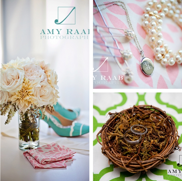 Pale pink and green wedding linens