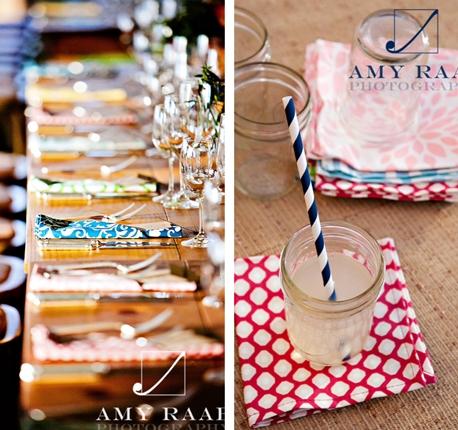 colorful wedding dinner napkins polka dot