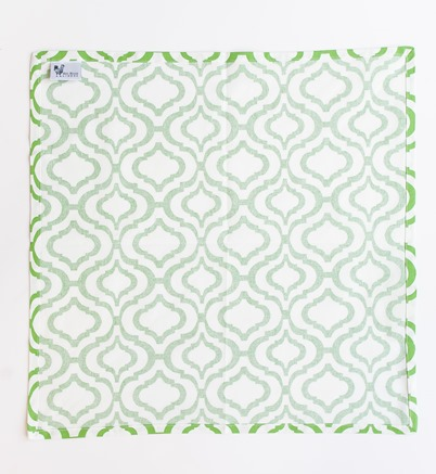 cotton cloth napkin fold green and white