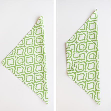 green and white cotton cloth napkin fold