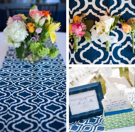 navy blue cotton wedding linens