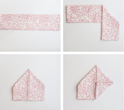 pink and white cloth dinner napkin fold