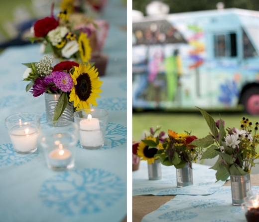 wedding linens blue cotton flowers