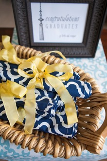 Navy and white cotton dinner napkins