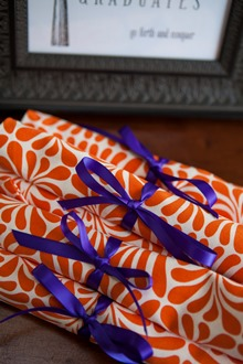 Orange and White cotton dinner napkins