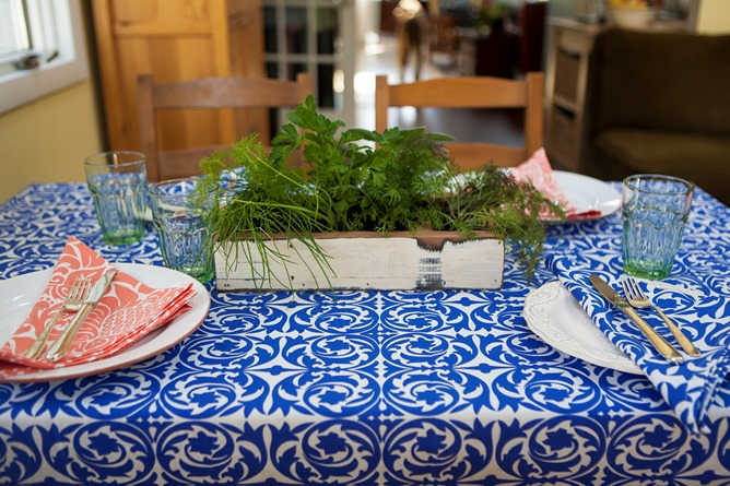 colorful cloth table linens for easter