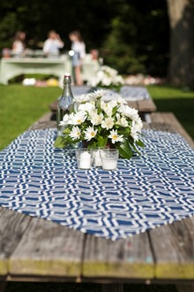 Blue and white cotton table linens