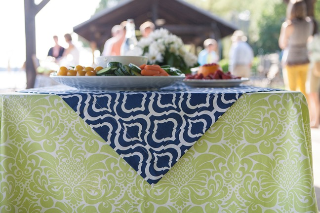 green and blue and white cotton linens